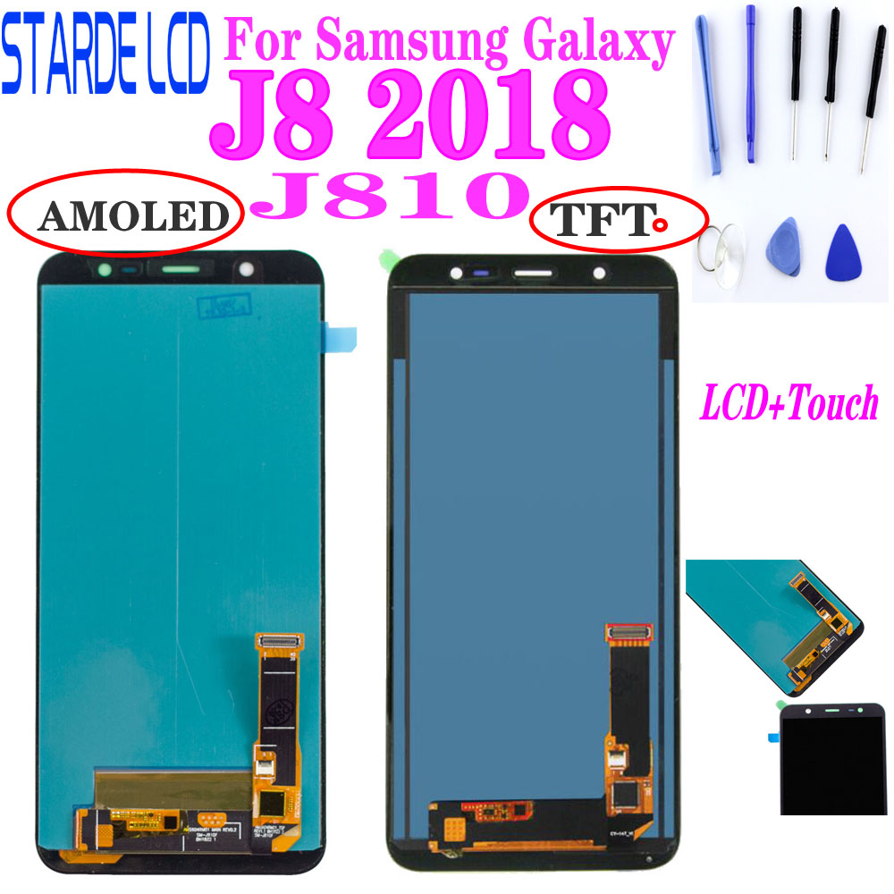 6.0'' Super AMOLED TFT LCDs Display For SAMSUNG J8 2018 J810 SM - J810M J810F J810Y LCD Screen Touch Digitizer Assembly