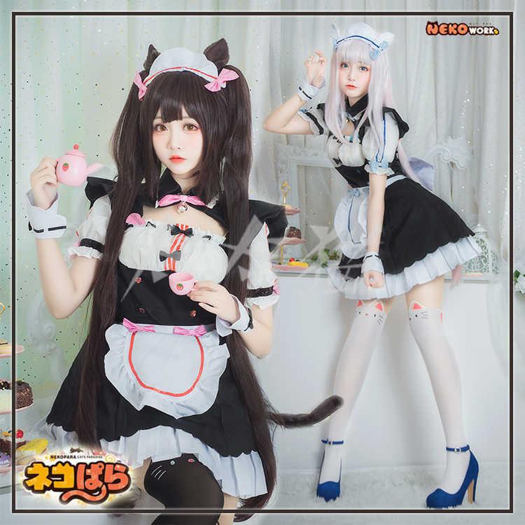 Nekopara Chocola Vanilla Maid Servant Dress Cosplay Costume Wig Shoes Ear Tail