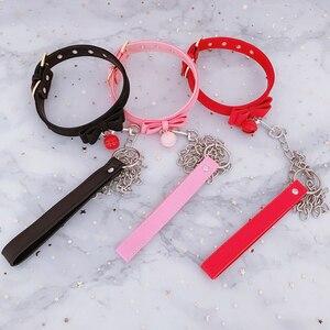 Image 1 - Ошейник из искусственной кожи с заклепками, альтернативный металлический колокольчик чокер, БДСМ, милое ожерелье, интимные игрушки для пар, эротический Косплей