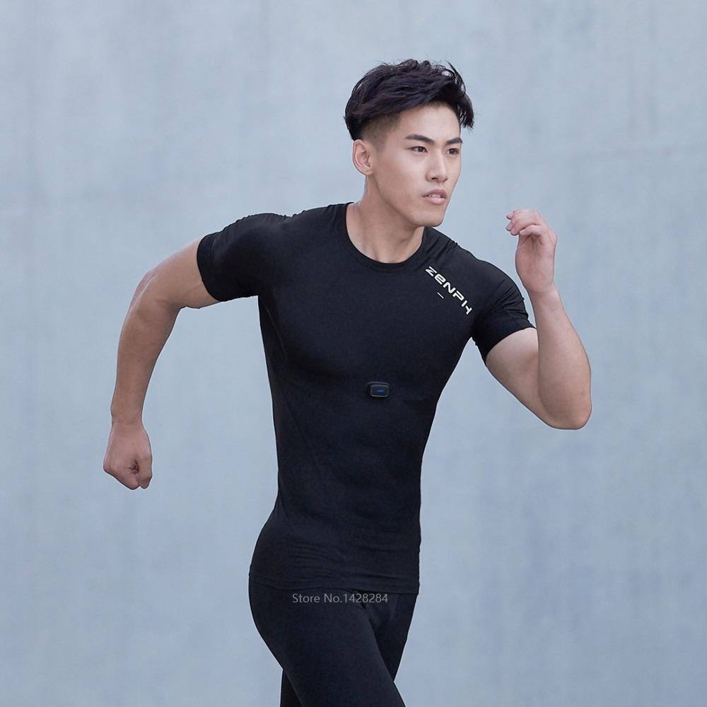 ZENPH Мужская умная спортивная одежда Высокая эластичность быстросохнущая летняя спортивная форма Беговая футболка мужская с коротким рукав...
