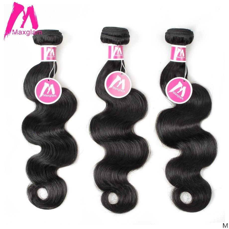 Maxglam Indische Menschliche Haarwebart Bundles Körper Welle Natürliche Kurze Lange 8 zu 30 inch Erweiterung Remy Haar für Schwarz frauen