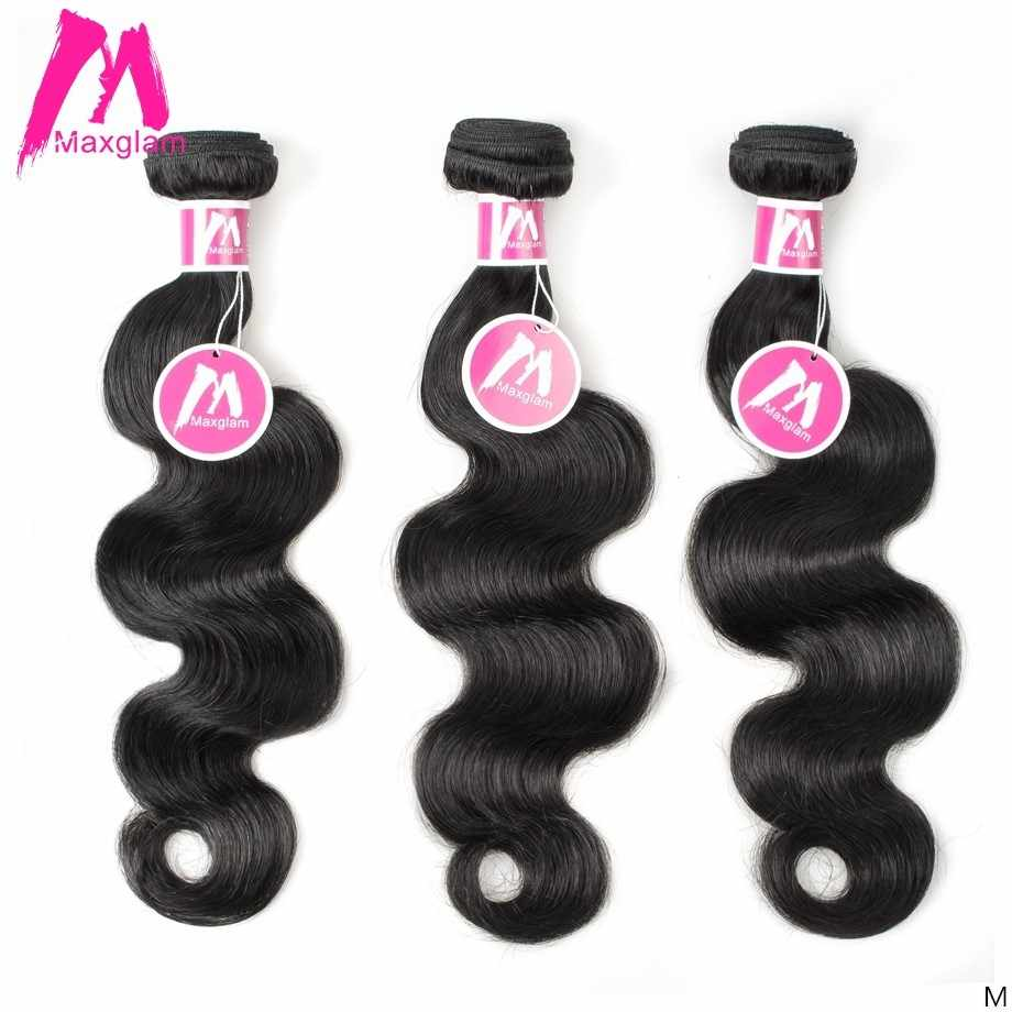 Maxglam Indian Human Hair Weave Bundles Body Wave Natural Short Long 8 to 30 inch Extension Remy Hair for Black Women