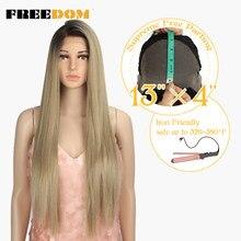 FREEDOM – perruque Lace Front Wig synthétique blonde longue lisse, 13x4, 32 pouces, résistante à la chaleur, perruque Cosplay pour femmes noires