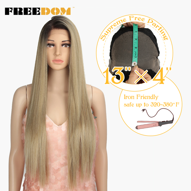 FREEDOM 13x4 inch Large Lace Free Parting Synthetic Lace Front Wigs Blond Long Straight Hair 32 inch Heat Resistant New Style