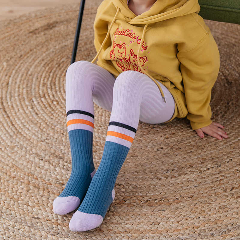 Baby boys girls tights Spring Casual sports style double bar Colorblock kids knitting cotton Pantyhose children knitwear