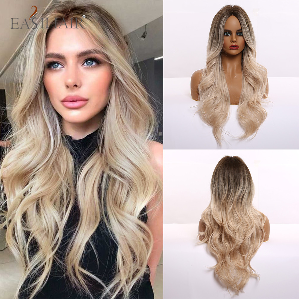 EASIHAIR Long Light Blonde Ombre Natural Wave Style Wigs Heat Resistant Synthetic Wigs Middle Part Hair Cosplay Wigs for Women