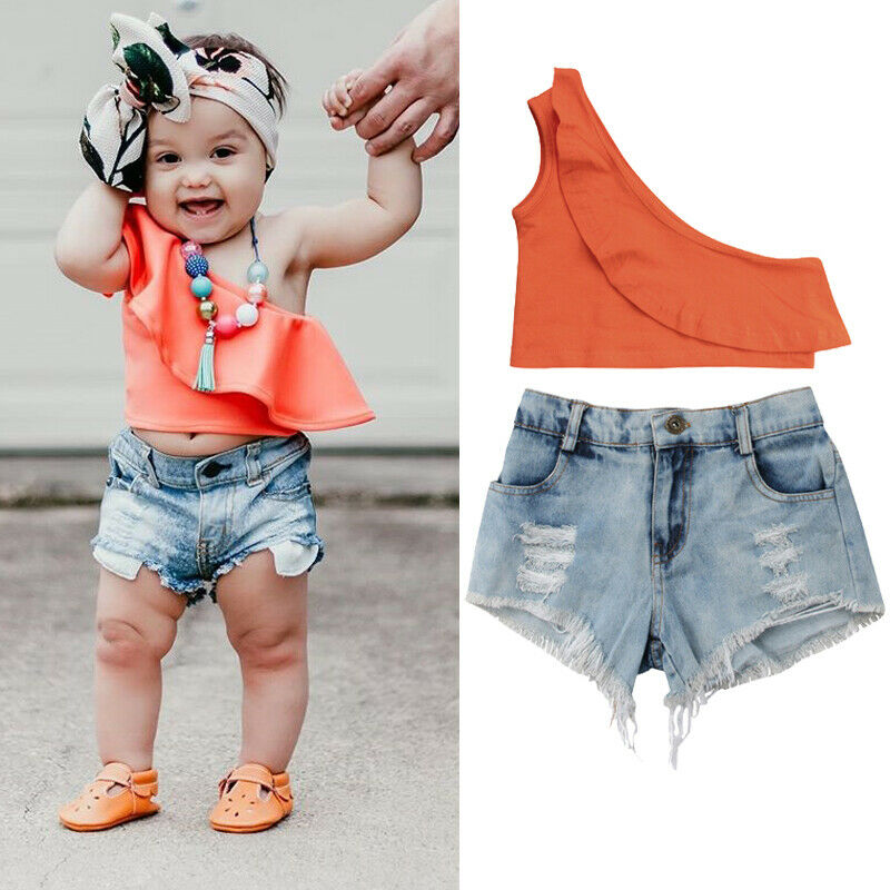 2020 Summer Clothes Toddler Kids Baby Girls Clothes Orange One Shoulder Crop Tops+Denim Shorts Jean Two Piece Set Outfits Set