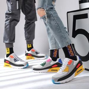 Image 5 - Almofada de ar tênis de malha respirável dos homens para o sexo masculino sapatos casuais ao ar livre caminhada jogging calçados unissex casal sapato plano