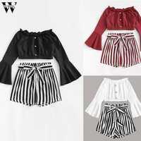 Womail tracksuit Women Autumn Fashion 2PCS Set Stripe Slash-Neck Long Sleeve Shirt Blouse set +Short Pants Women suit holiday 85