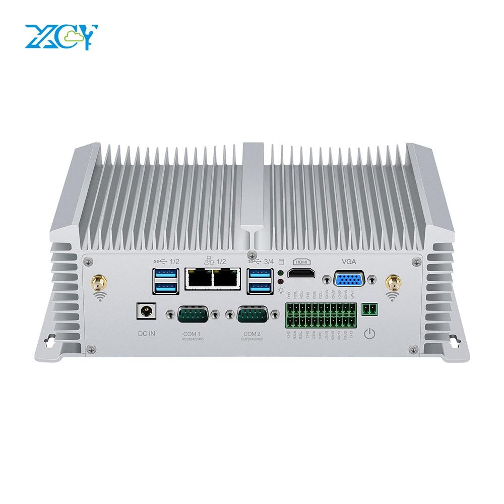XCY X40G Industrial Mini PC I5 8250U 7200U I7 7500U 2*RS232 RS422 RS485 2*LAN 8*USB HDMI VGA GPIO WiFi 4G SIM DDR4 Windows Linux