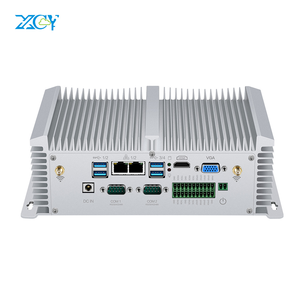 XCY X40G Industrial Mini PC I5-8350U I7-7500U I5-7200U 2*RS232/422/485 2*LAN 8*USB HDMI VGA GPIO WiFi 4G LTE Windows Linux