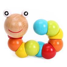 Сделай сам ребенок ребенок полированный красочный гусеница деревянный игрушка младенец образовательный рождество подарок