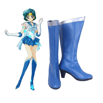 Anime Sailor Moon Cosplay Shoes Knee Length PU Leather Sailor Mercury Cosplay Boots High Heels Zipper-up Girls Halloween Shoes 1