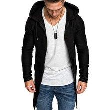 Men Splicing Hooded Trench Coat Jacket Cardigan Hoodies Long