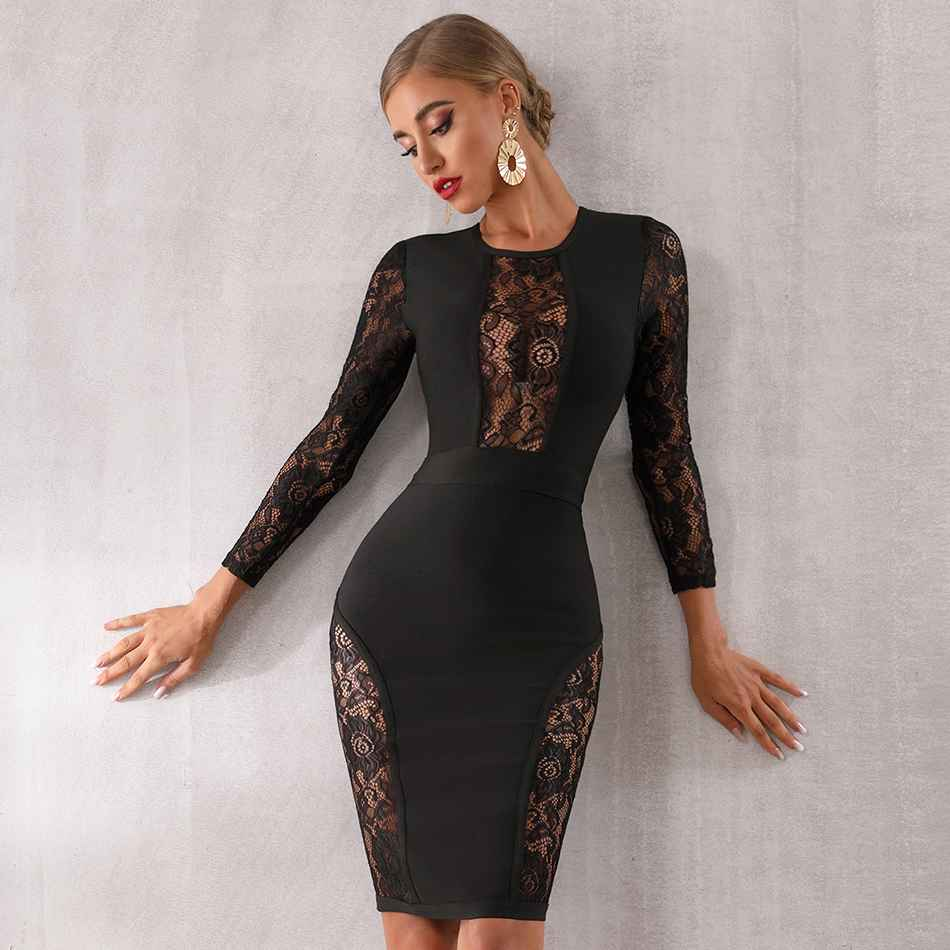 Seamyla 2019 nouvelle robe de pansement femmes Vestido noir dentelle célébrité soirée robes de soirée Sexy à manches longues moulante Midi robe de Club - 3