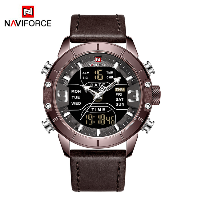 Luxury NAVIFORCE Watch Men Military Sport Leather strap Wristwatch Mens Waterproof Led Digital Quartz Clock Relogio Masculino | Fotoflaco.net