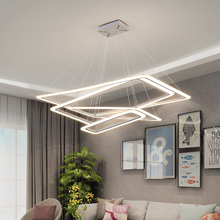 Rectangular rings LED chandeliers acrylic lights lamp for dinning room living lampadario moderno Lustre Chandelier Lighting