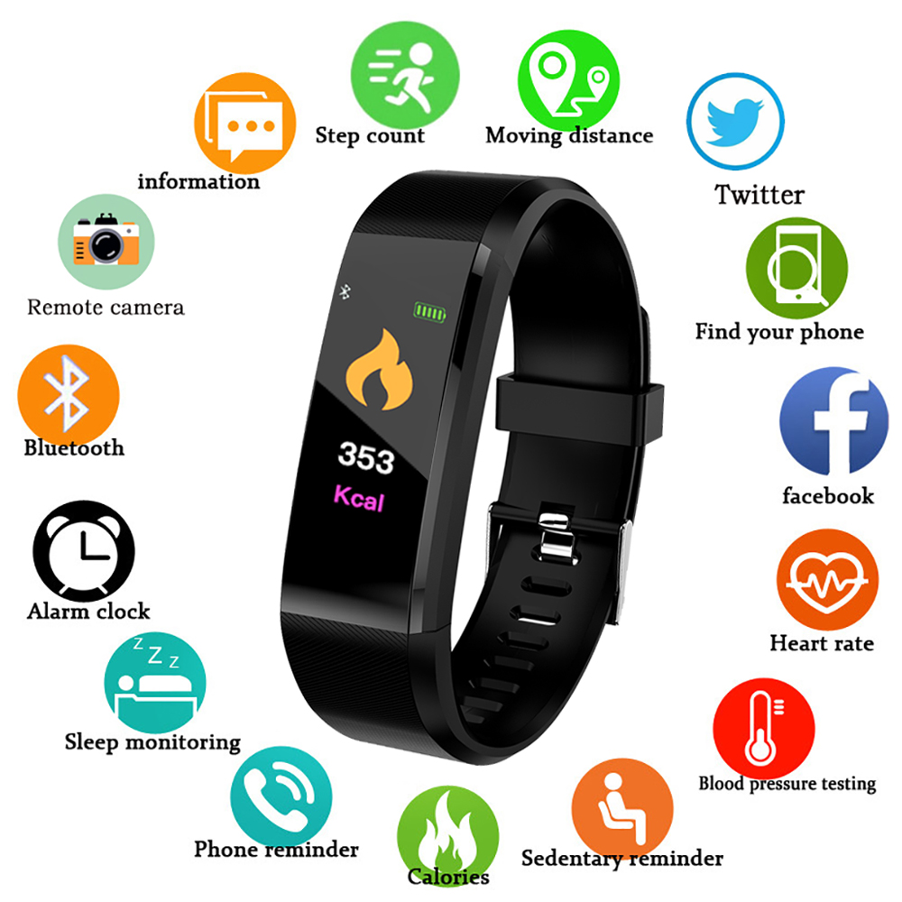 TEZER Smart Wristband 115 Plus Blood Pressure Watch Fitness Tracker Heart Rate Monitor Band Smart Activity Tracker