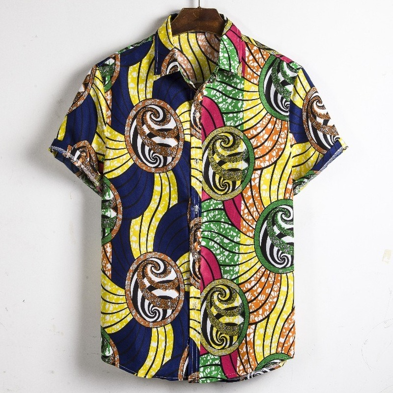 Men Dashiki Loose Blouse Fashion African India Casual T Shirt Men's Clothings Men's Shirts Men's Tops