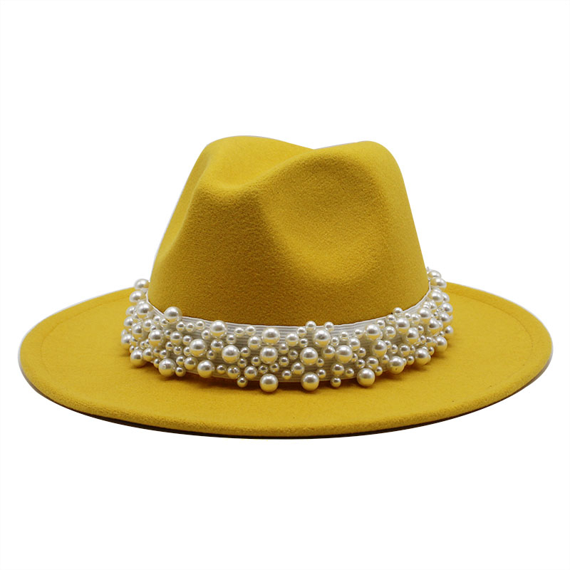 2020 Women Men Wool Fedora Hat With pearl Ribbon Gentleman Elegant Lady Winter Autumn Wide Brim <font><b>Church</b></font> Panama Sombrero Jazz Cap image