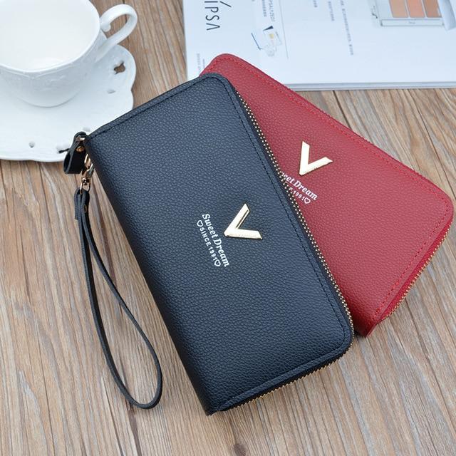 2020 New Double Zipper Hand Bag Wallet Ladies Long Casual Fashion Large Capacity Wallets Mobile Phone Pouch Handbag Women Purse