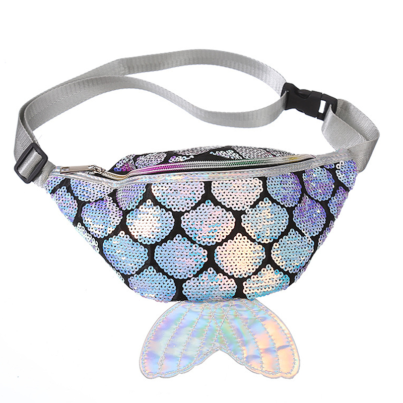 Cute Laser Women Chest Packs Waist Bag Girls Creative Sequin Fish Tail Pillow Bum Money Bags Pu Leather Elegant Fanny Pack