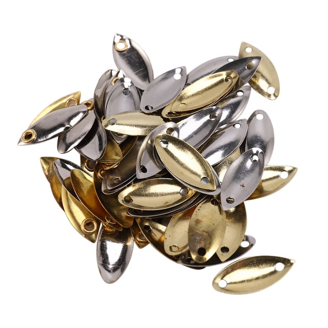 137Pcs Fly Fishing Lure Kit with Thrower Sequin Noise Silver Gold Metal Small Spoon Spinner Lure Tackle Willow Blades Smooth DIY
