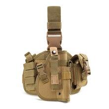Army Tactical Universal Adjustable Hunting Pistol Molle Drop Leg Stickers Design Nylon Platform Panel w/Pistol Holster Bag Pouch