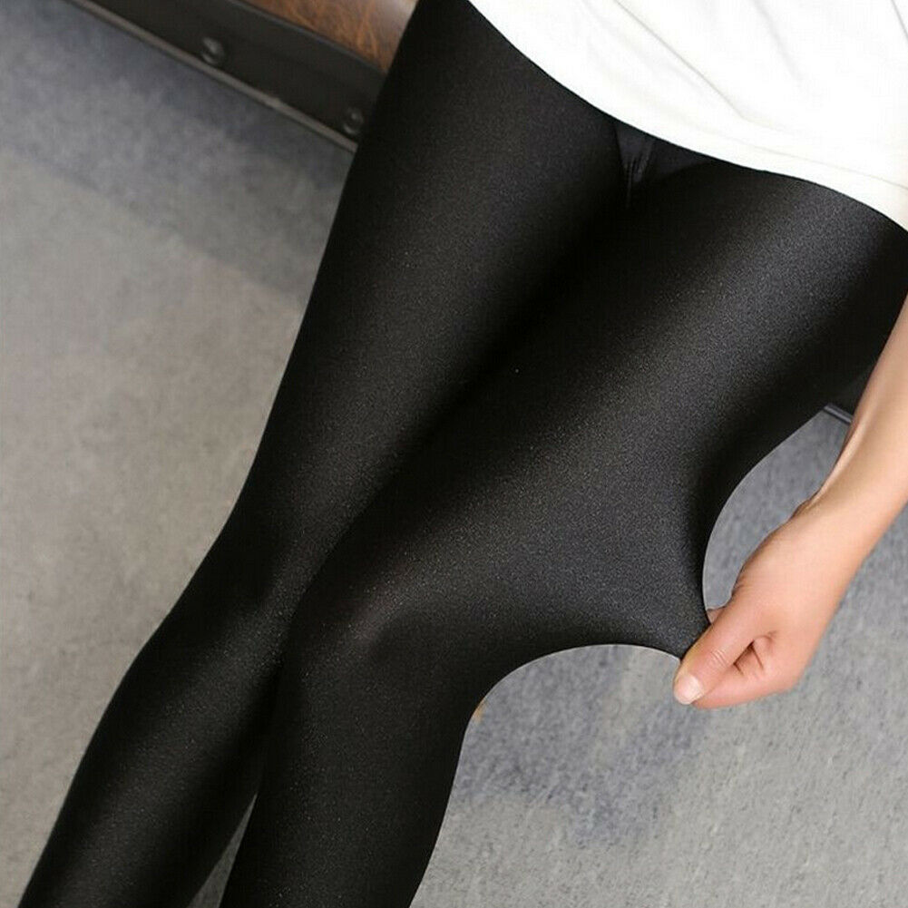 Hot Sale Solid Women Sexy Shiny Black Thin Elastic High Waist Stretch Skinny Shiny Legging Elegant Lady Slim Fit Pants Plus Size