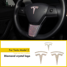 Logo For Tesla Model 3 X S Y Steering Accessories Hub Center Cover Sticker  Crystal Style