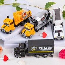 Camion en alliage échelle 1:64 pour enfants, modèles pour garçons, véhicules à inertie, jouets moulés, ingénierie, sauvetage, Transport, voiture, cadeaux d'anniversaire