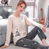 Automne nouveau coton impression haut à revers + pantalon Long 2 pièces ensembles pyjamas ensemble pour femmes mignon vêtements de nuit filles Pyjama M L XL XXL XXXL