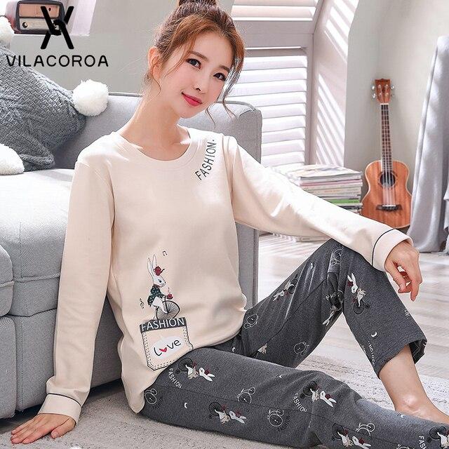 Autumn Winter Cotton Print Womens Pajamas Sleep Round Neck Long Sleeve Top Long Pant Pajamas Set Woman Sleepwear Pyjamas Women