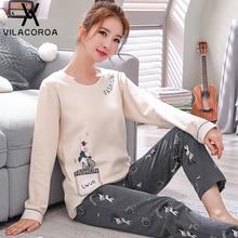 Outono inverno algodão estampado pijama feminino sono em torno do pescoço manga longa topo longo pant pijamas conjunto mulher pijamas