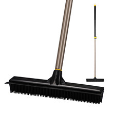 Cleanhome Telescopic Broom Rubber Bristles Carpet Brush with 53 Inch Adjustable Long Handle for Home Tile Floor Cleaning