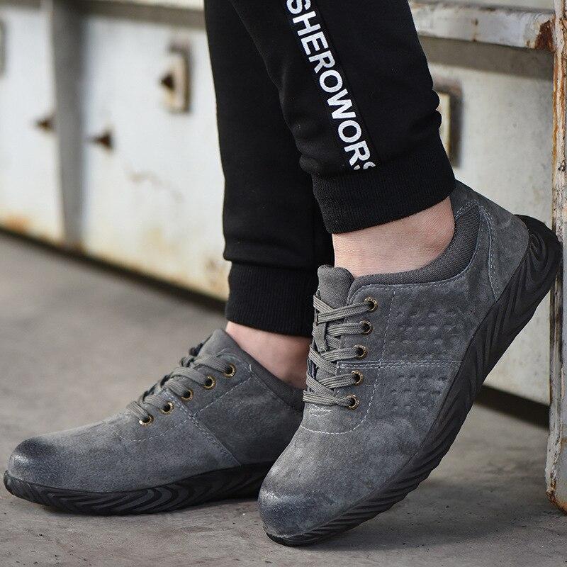Из воловьей кожи со стальным носком Защитная Рабочая обувь для мужчин дышащие слипоны повседневные ботинки для мужчин