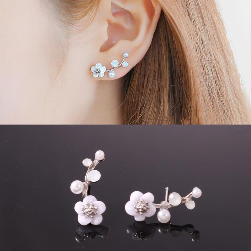 2019 Temperament Fashion Simple Pearl Earrings Crystal Branch Pearl Flower Earrings Ladies Flower Gold And Silver Earrings New