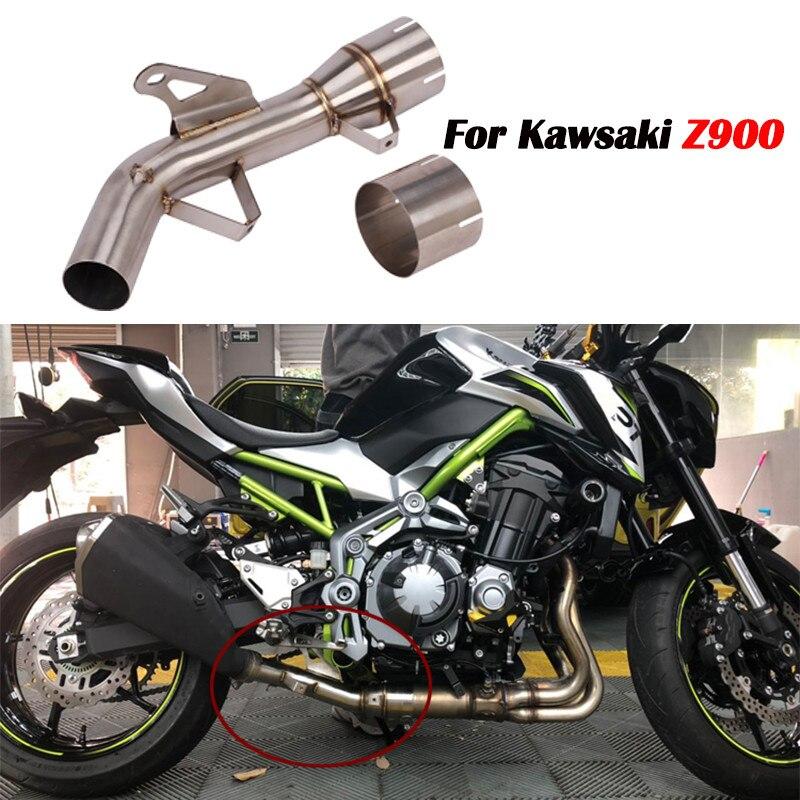 Decat Eliminator Down Exhaust Pipe for Kawasaki Z900 Z 900 2017 2018 2019 Stainless Steel De-cat Mid Pipe Motorcycle Muffler