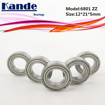 Kande Bearings 6801 ZZ 10PCS ABEC-1 6801ZZ Thin Single Row Deep Groove Ball Bearing 12x21x5mm 61801 image