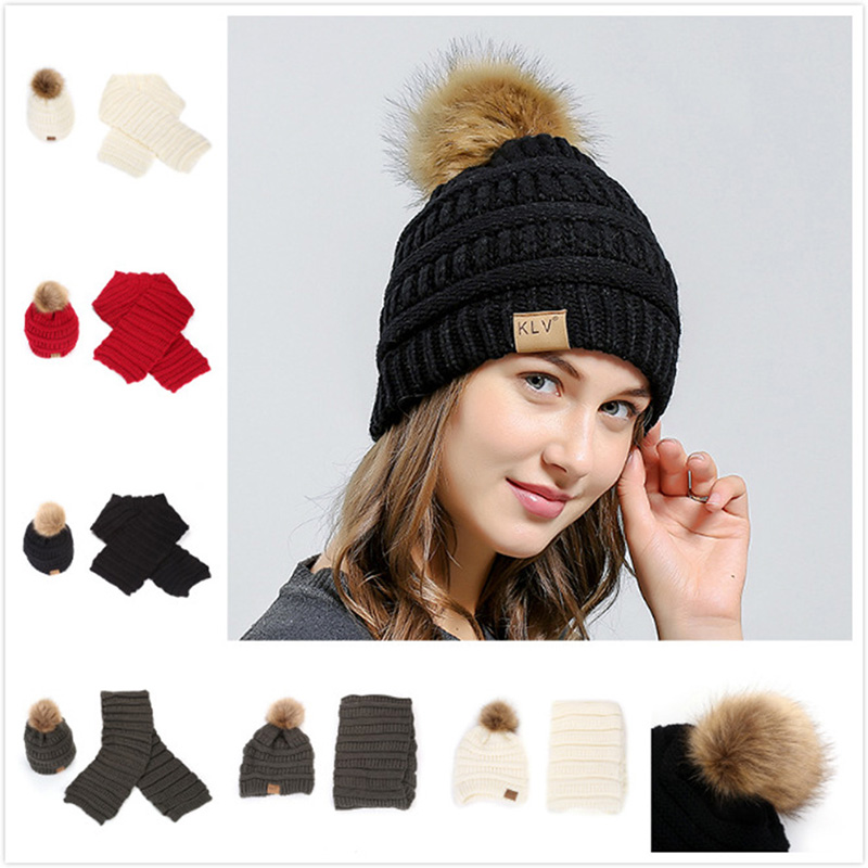 Winter Women Scarf Hat Set Knit Wool Skullies Thick Knitted Warm Beanies Fur Pom Pom Hats And Infinity Scarves For Girl
