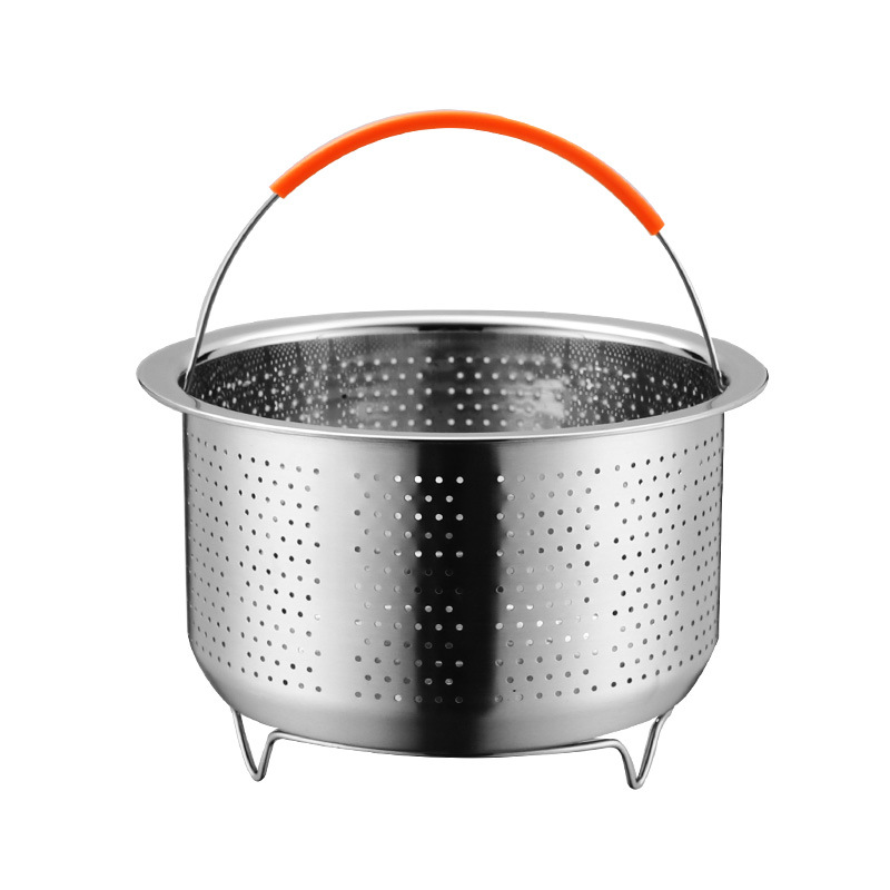304 Stainless Steel Basket-Rice Cooker Steamed Rice Cooker With Base Encryption Small Hole Wash Rice Water Draining Multi-Purpos