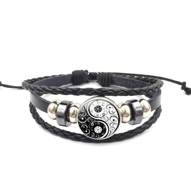 2019 Fashion Leather Bracelet Yin Yang Jewelry Tai Chi Glass Cabochon Snap Woven Leather Bracelet Gifts For Men Jewellery