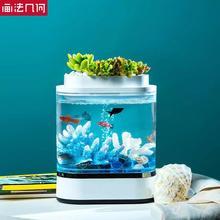 Youpin الهندسة البسيطة كسول خزان الأسماك USB شحن الذاتي التنظيف المياه الصغيرة حديقة حوض للأسماك مع 7 ألوان مصباح ليد
