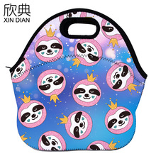 high definition printing whimsy sloths insulated lunch bag design portable bento heat preservation bags