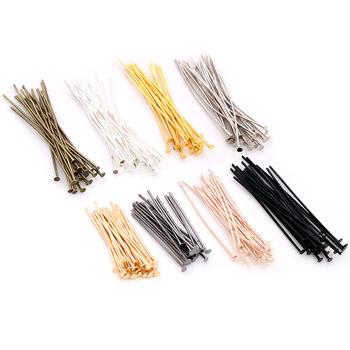 200 sztuk partia 16 20 25 30 35 40 45 50mm płaskie głowy Pins złoty srebrny kolor rod Headpins dla ocena biżuteria Making #8230 tanie i dobre opinie Wadsfred CN (pochodzenie) Pins needles Handmade 0 5cm Metal iron lead free and nickel free