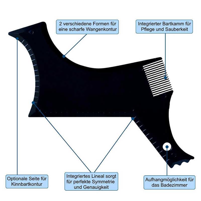 Barba preta modelo de estilo pente para homem estêncil cabelo barba pente leve e flexível ferramenta de modelagem de barba