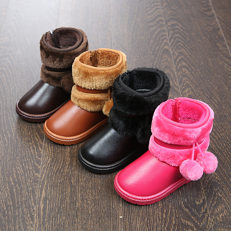 SKOEX Babys Girls Pom Pom Snow Boots Winter Warm Girls Shoes Toddler Little Kids Ankle Boots Fur Lining Princess Childrens Shoes