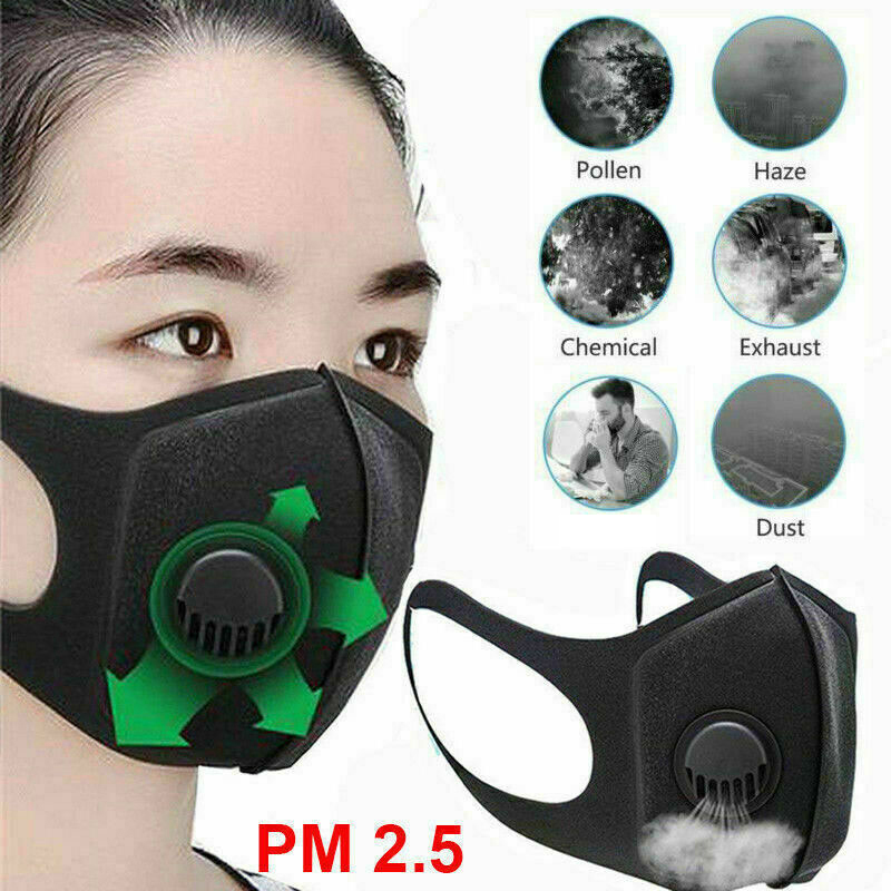 W/ Breather Valve Reusable PU Washable Face Cover Mouth Muffle Anti Dust Breathable Elastic Elastic Ring