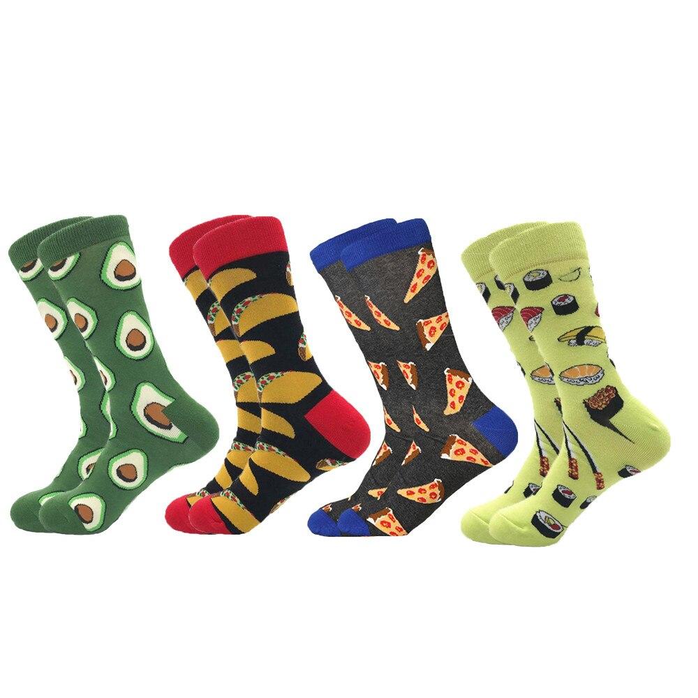MYORED 4 парт/лот 2020 новые мужские носки из чесаного хлопка Высокое качество новинка продукты суши фрукты пончики серия короткие носки для мужч...