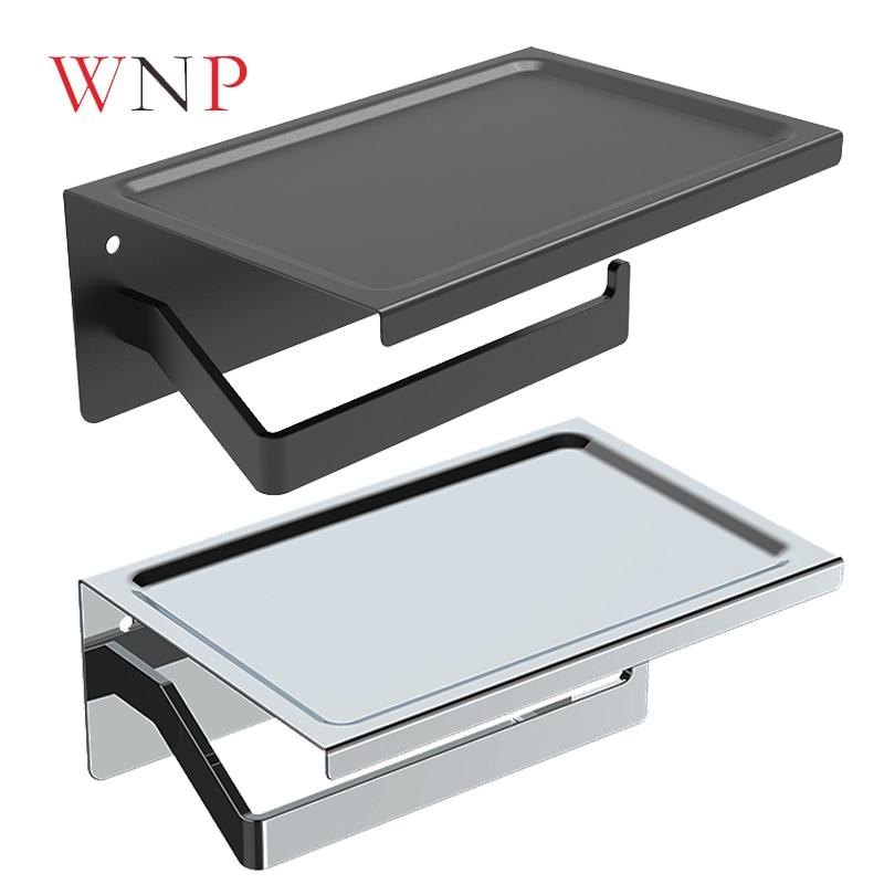 Matte preto/prata de aço inoxidável telefone suporte de papel higiênico, telefone celular suporte de papel, telefone suporte de papel higiênico, suporte do banheiro
